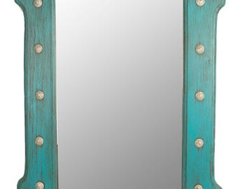 Silver Creek Concho Turquoise Mirror-Wood-Mexican-25x36-Rustic-Cowboy-Clavos-Western-Vanity-Bathroom-Distressed Turquoise