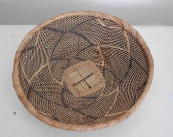 Vintage Round Bowl Basket Wall Decor Woven