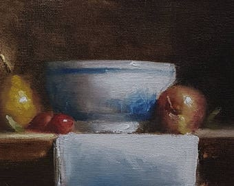 Bowl with Apple and Pear ORIGINAL oil painting on mdf-Still Life painting-wall art-Neil Carroll