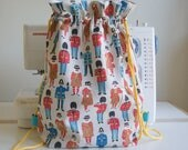 Handmade Fabric BackpackDrawstringPE Bag  Kids  Cath Kidston  Guards and Friends  Fawn Spots