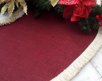 "Burlap Tree Skirt - Christmas Tree Skirt - Tree Skirt - Christmas Decor - Burgundy Tree skirt with Luxury fringe  - 46"" - 52"" choose size"