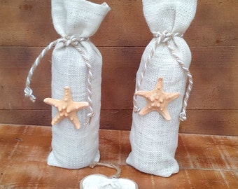 Burlap Wine Bottle Holder - Ivory Burlap Wine Bag - Wine Cozy- Wedding Table Decor - Wine bag - Wine Sack - Qty 3