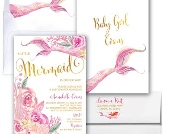 Mermaid Baby Shower Invitation // Under the Sea Invitation // Watercolor // Gold // Floral // Girls // Pink // QUEENSLAND COLLECTION