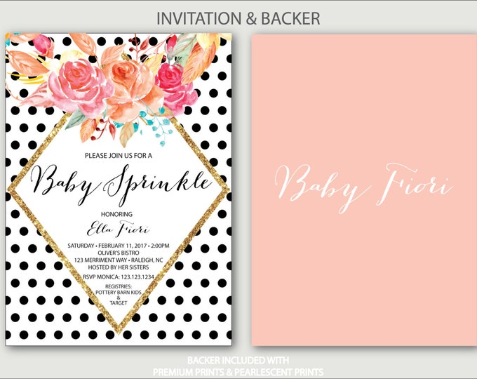 Polka Dot Baby Sprinkle Invitation // Baby Shower Invitation // black and white // blush pink // gold glitter // RALEIGH COLLECTION