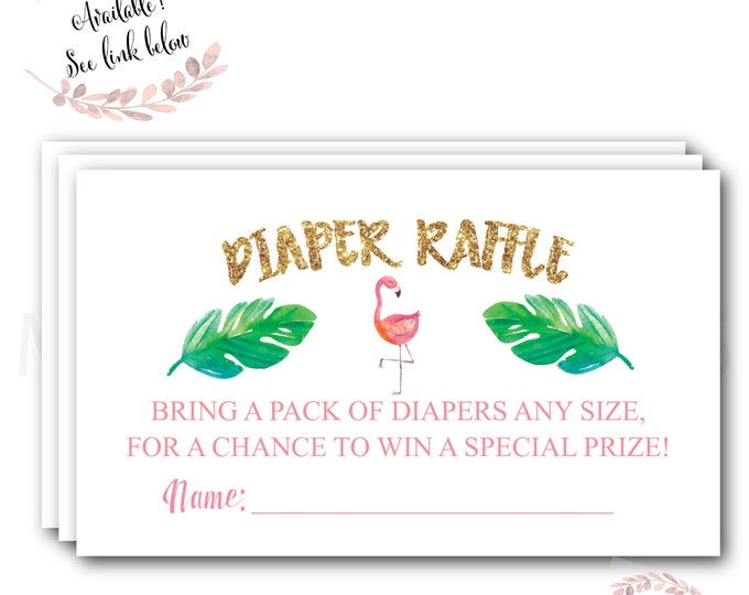 Flamingo Diaper Raffle Ticket // Diaper Raffle Card // Gold // Baby Shower // Flamingle // Palm // Printed //  COCONUT GROVE COLLECTION