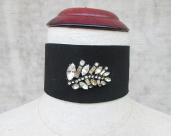 Vintage Rhinestone Japanned Brooch on Wide Black  Choker