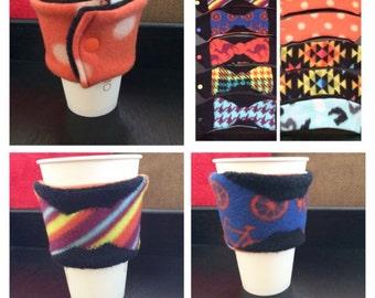 Bow Tie Reversible Cup Sleeve / Reversible Coffee Cup Sleeve/ Reversible Cup Cozy / Reversible To Go Sleeve/ Coffee Jacket/ Drink Sleeve