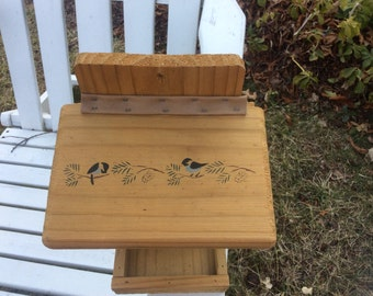 Handmade Birdhouse with painted Chickadees