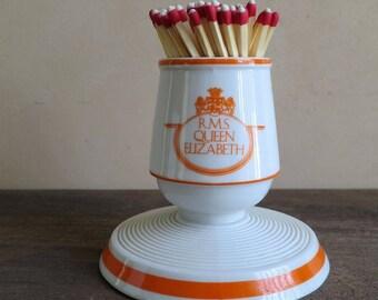 Vandor Imports Porcelain Match Holder and Striker, RMS Queen Elizabeth Match Stick Holder