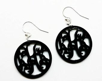 Black Acrylic Monogram Earrings