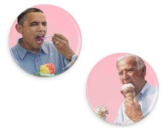 Obama and Joe Biden BFF Ice cream Snow Cone Bestie Button Pin Set