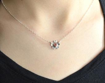 Sakura necklace, Mother's Day Gift, Natural Pink Tourmaline, Sakura pendant, Cherry blossome, Sakura blossom, 100% Handmade, Sterling silver