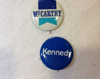 Vintage Political Buttons from John F. Kennedy and McCarthy.