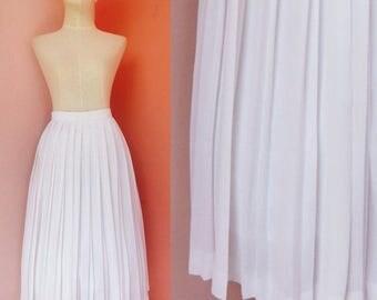 White Skirt Pleated Skirt Chiffon Skirt 80s Skirt Prom Skirt Retro Skirt Womens Skirts Vintage Skirt Boho Skirt Midi Skirt Size XS