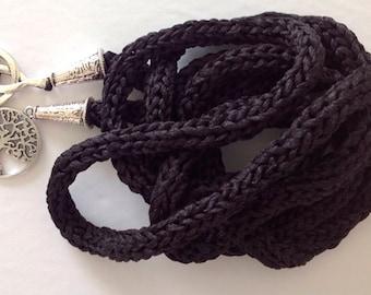 100% Black Tussah Silk handmade handfasting cord
