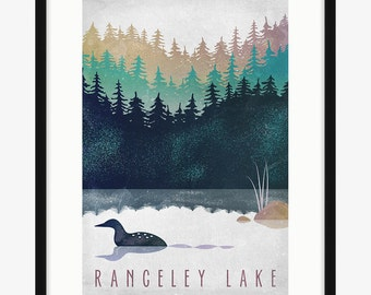 Loon on Lake Poster - Maine Print - Customize
