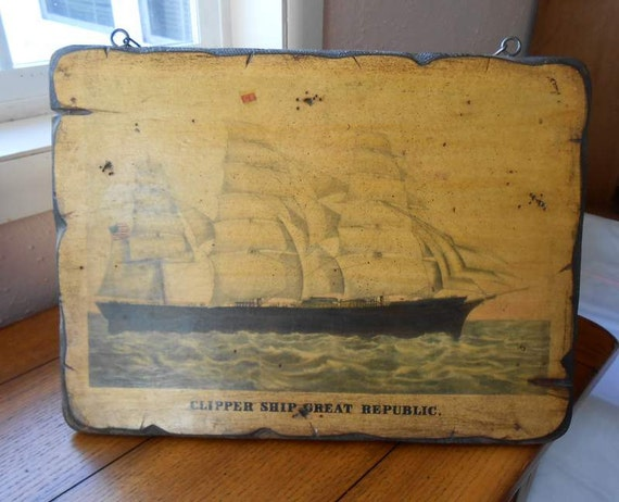 DeCoupage Wall Hanging Clipper Ship Great Republic On Folk Art Wormwood Board