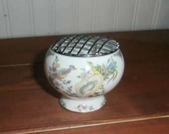Vintage Coalport England flower frog rose bowl bone china Paradise pattern floral arranger vase