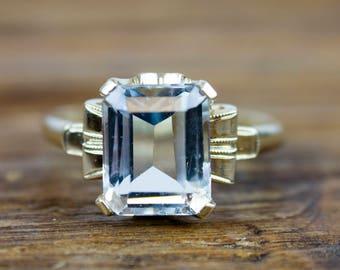 Edwardian 14k Gold Pale Blue 3.00 ct Aquamarine Ring