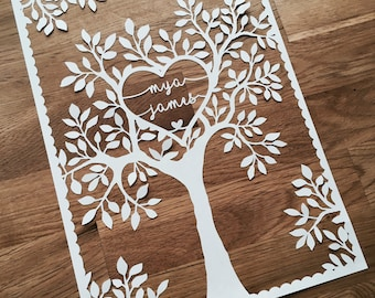 SVG / PDF Natural Wedding Tree (to personalise) - Papercutting Template to print and cut yourself (Commercial Use)