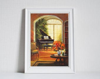 Oil painting piano, Still life painting, Piano, Anniversary Gift, Wall decor, art print, giclee, oil painting, Art and Collectibles