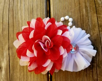 Hair Accessory, Girls Accessory, Wedding Flower, Flower Headband, Spring Flower, Flower Girl, Red and White, Valentine's Day, Girls Headband