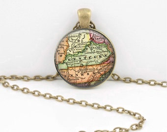 Kentucky Vintage Map Geography Gift  Pendant Necklace or Key Ring