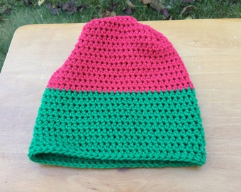 Red and Green Beanie | Slouchy Beanie | Color Block Beanie | Green & Red Slouchy Beanie | Winter Hat