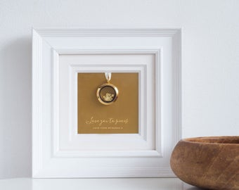 Love You To Pieces Frame, Personalised Frame, Mother's Day Romantic Frame, Gold Locket in White Wooden Frame (OHSO571)