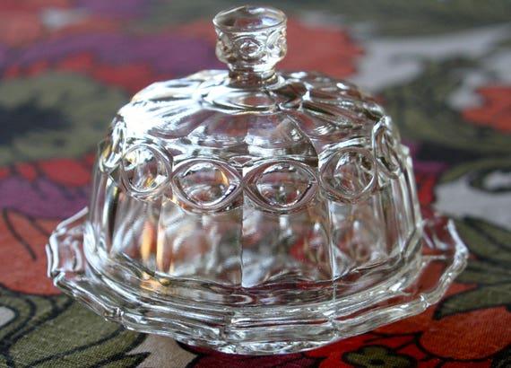 vintage glass butter dish with lid. Black Bedroom Furniture Sets. Home Design Ideas