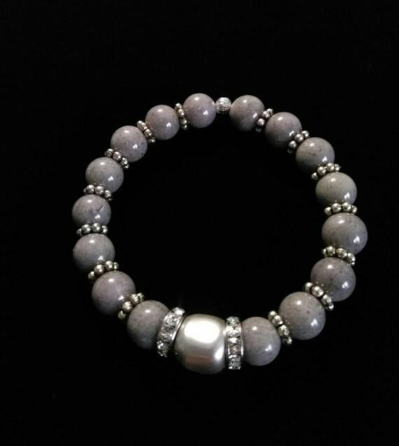 """Malaysian """"Jade"""" and Swarovski Pearl Stretch Bracelet B6151774"""