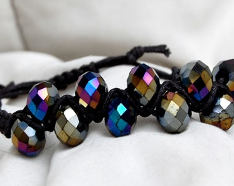 Macrame Irridescent Blues Bracelet