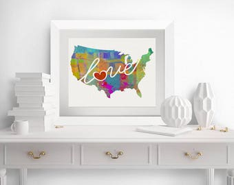 United States (USA, US) Love - Colorful Watercolor Style Wall Art Print & Home Country Map - Housewarming, Moving, Engagement, Wedding Gift