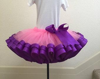 Hot Pink With Purple Ribbon Tutu, Sewn Ribbon Trimmed TuTu, Girl's Tutu Skirt, Tutu For Girl's Party/ Birthday