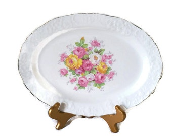 knolews platter, spring platter,  shabby chic china, shabby chic servingware