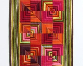 Art Quilt, Textile Wall Art, Modern Wall Hanging, Contemporary Wall Quilt, Scandinavian Style, Rustic Red Quilt, Christmas Wall Quilt Sale