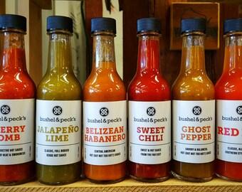 B&P's  Hot Sauce Rainbow 6 Pack - 1.0 - Jalapeno, Cherry Bomb, Habanero, Sweet Chili, Ghost Pepper, Red Hot