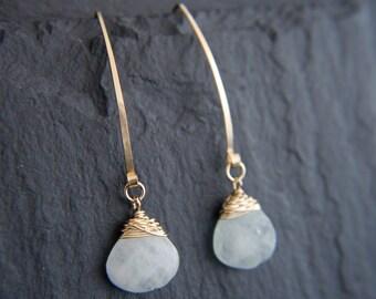 Aquamarine Earrings, Gold Hoop Earrings, Gold Filled, Wire Wrapped, Gemstone Earrings, Teardrop Earrings, Wedding Jewelry, Bridesmaid, Boho