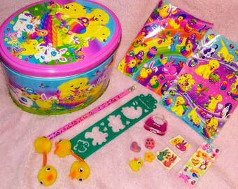 Vintage Lisa Frank Collector Easter Tin Stickers Erasers Stencil Body Stickers Tattoos Pencil lipgloss hairties
