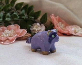 Purple Ceramic Raccoon Figurine