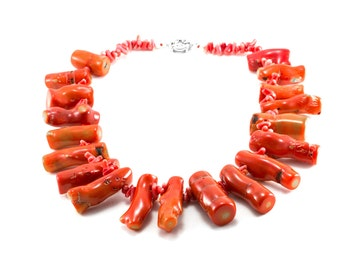 Chunky Coral Necklace/ Red Coral Necklace/ Natural Coral Necklace/ Branch Coral Necklace/ Red Branch Coral/ Sea Coral Necklace