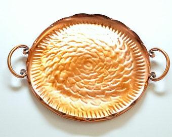 Vintage Gregorian Copper Tray Hammered Copper Handled Plate Floral Design Metal Serving Platter