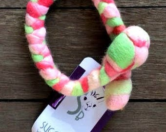 Woolly Tug Hand Felted Dog/Cat Toy, Original Size, in Colorway Candy Cane Confetti #3