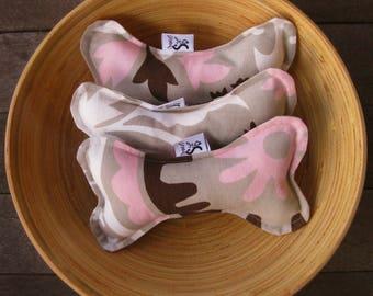 Bonz Plush Dog Bone Toy With Squeaker in Pink Suzani Twill