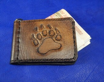 Brown leather money clip King of the forest