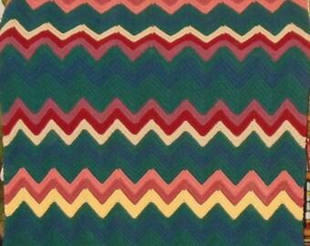 Vintage Small Afghan Throw Lap Blanket Hand Crochet Dark Green Red Tan Blue 60 x 44