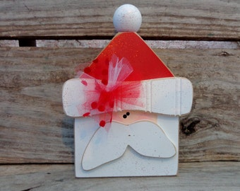 Santa Decor- Christmas Decor- Santa Decorations- Chunky Santa shelf sitter