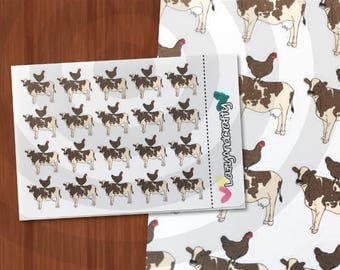 Brown Chicken Brown Cow - Planner Stickers - ECLP, Happy Planner, scrapbooking and more!