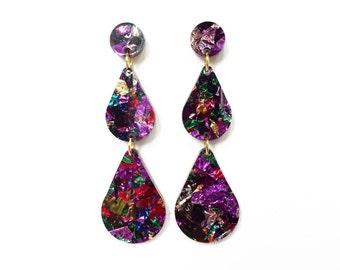 Rainbow glitter raindrop earrings, laser cut earrings, lasercut acrylic, glitter earrings, geometric earrings