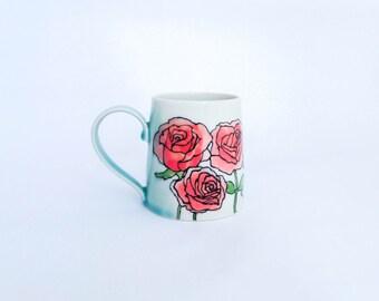 Handpainted porcelain coffee mug